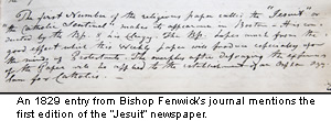 An 1829 entry from Bishop Fenwick's journal.