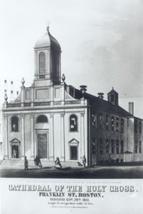 A photo of the former Cathedral of the Holy Cross in the late 1700s.