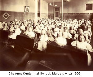 Photo of Cheverus Centennial School in Malden in 1909.