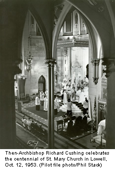 Bishop Cushing celebrates the centennial of St. Mary Church in Lowell, Massachusetts on October 12, 1953.