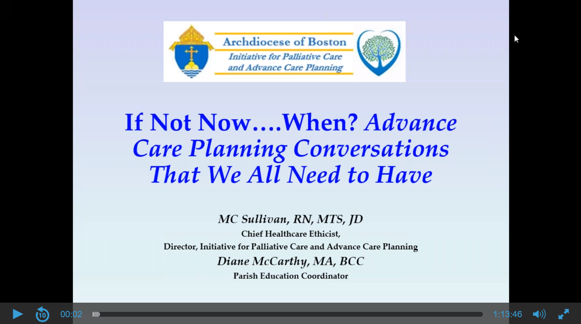 Screen shot of a webinar on Advance Care Planning